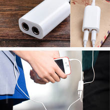 Putih Dua Lubang Kabel Splitter Audio Jack Headphone Stereo Sama dengan Output Headphone Speaker(China)