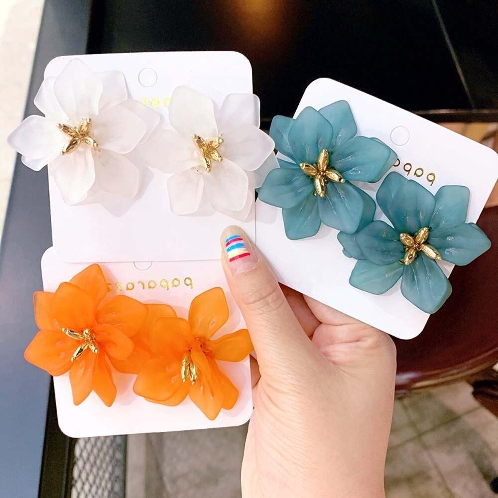 Гипербола цветок серьги женские Акриловые большой белый оранжевый зеленый цветок праздничные серьги 2019 новый дизайн преувеличенный смоляный цветок|Серьги-гвоздики|   | АлиЭкспресс