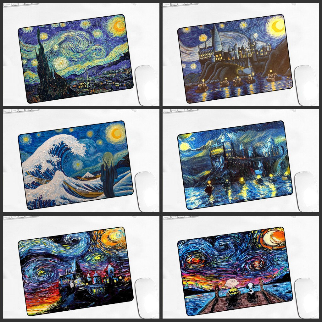 XGZ Promotion Van Gogh Gamer Game Pad Rubber Art Speed Painting Mousepad Small Size For 18x22x2mm Gaming Mouse
