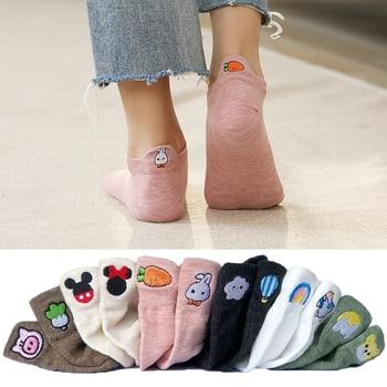 5 Pairs/lot 2021 Summer Cotton Cartoon Drew Socks Women Heel Bunny Carrot Cute Socks In Bulk Trend Ins Embroidery Women's Socks 1