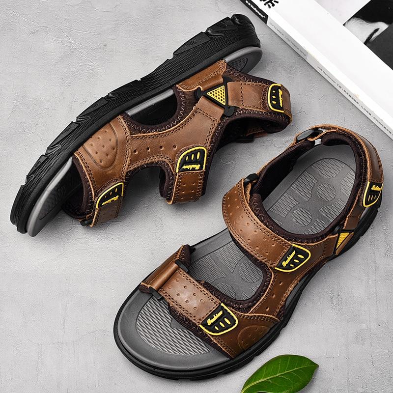 Мужские сандалии легкие пляжные сандалии для мужчин; Женские модные прогулочные мужские сандалии; Кожаные летние 2021, нескользящая подошва, повседневные сандалии размера плюс
