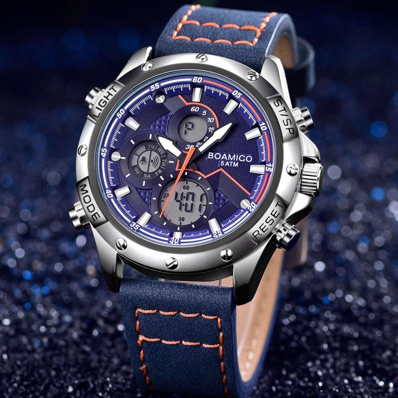 BOAMIGO New Fashion Mens Watches Top Brand Luxury Military Digital Quartz Watch Leather Waterproof Sport Chronograph Watch Men