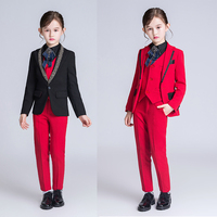 YuanLu 2019 Kids Suit For Girls Blazer Coat Wedding Party Piano Silm Fit Costume Children Coat Red/Black