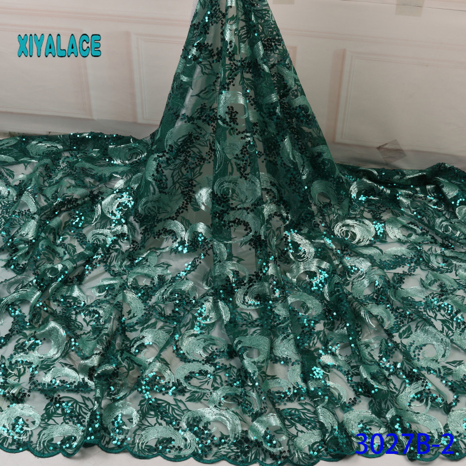 African Lace Fabric Latest 2019 High Quality Lace With Sequins French Lace Fabric Bridal Lace For Nigerian Party Dress YA3027B-2