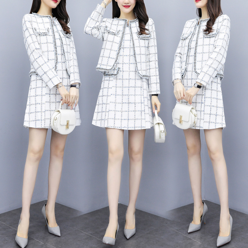 Photo Shoot 2019 Autumn And Winter Elegant Debutante Graceful Dress Outfit Women's Tweed Cropped Jacket Vest Skirt Two-Piece Set