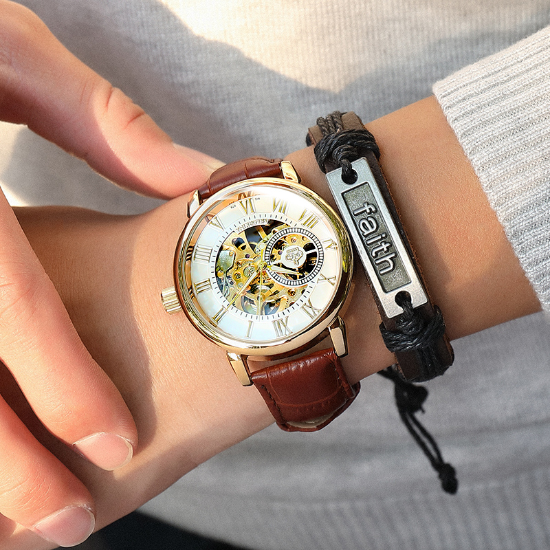 Image 5 - 2020 New Brand MG ORKINA Clocks Men Watches Leather Strap Mechanical Wristwatch Silver Skeleton Watch Transparent Hollow DesignMechanical Watches   -