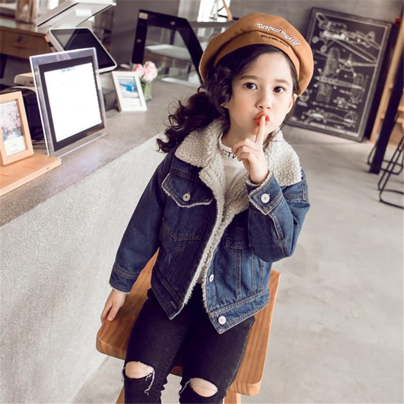 Autumn Winter Girls Denim Jacket Lamb Wool Jeans Warm Velvet Teen Kids Jackets And Coats Older Children Outerwear 4-12Y