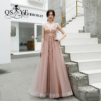QSYYE 2019 New Arrival Long Prom Dresses Robe de Soiree Tulle V neck Beading Top Floor Length Formal Evening Dress Party Gown