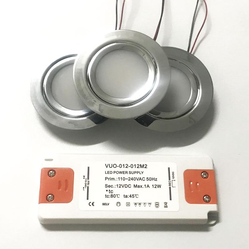 Stainless Steel 3W 14mm Mini LED Spotlight + AC 110V 220V 240V Slim Driver Adapter CE Ceiling Lamp