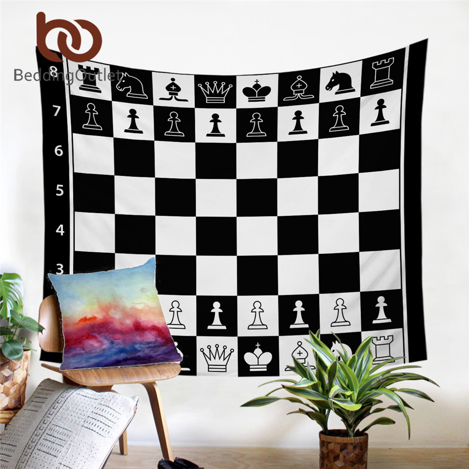 BeddingOutlet Chess Board Tapestry Wall Hanging Games Decorative Wall Carpet Black And White Bedspreads Squares Teen Bed Sheets