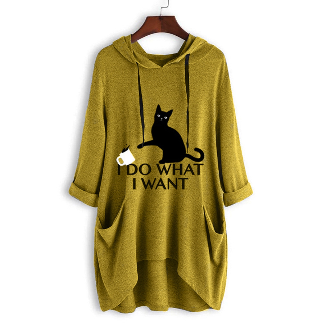 Leuke Kat Gedrukt Oversized Onregelmatige Hooded Jassen Vrouwen Streetwear Harajuku Lange Mouwen Midi Hoodies Vrouwelijke Sweatshirts Tops - 5
