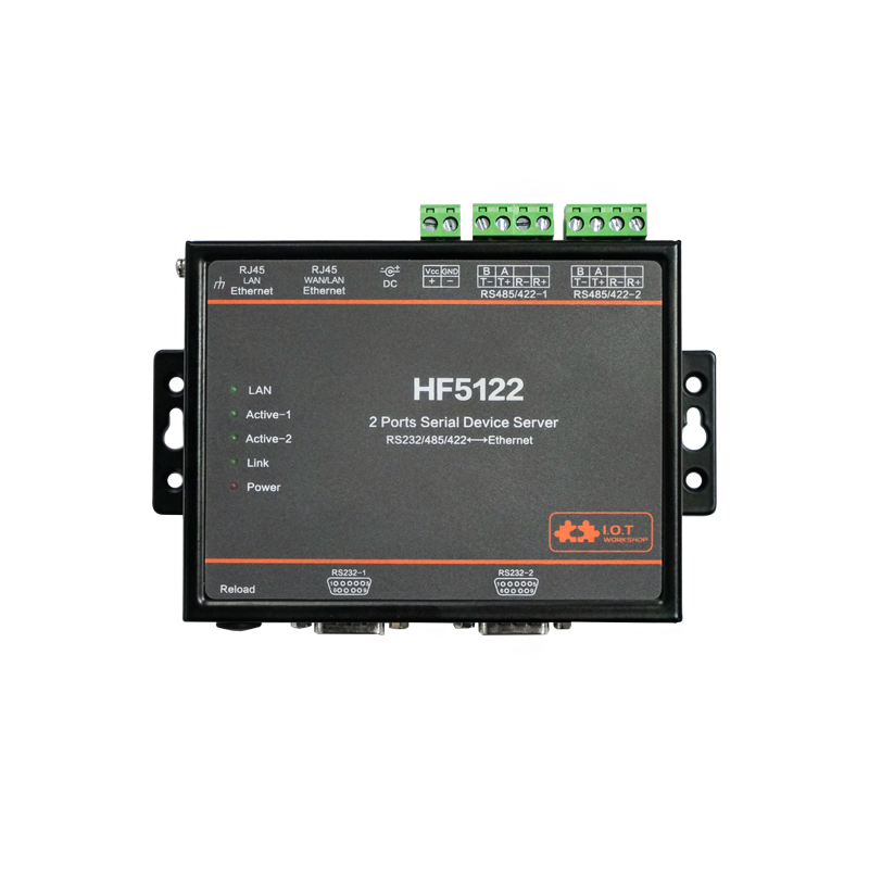 HF5122 RS232 Rs485 Rs422 Modbus Industrial Serial To RJ45 Ethernet Free RTOS Serial 2 Port Transmission Converter Serial Server