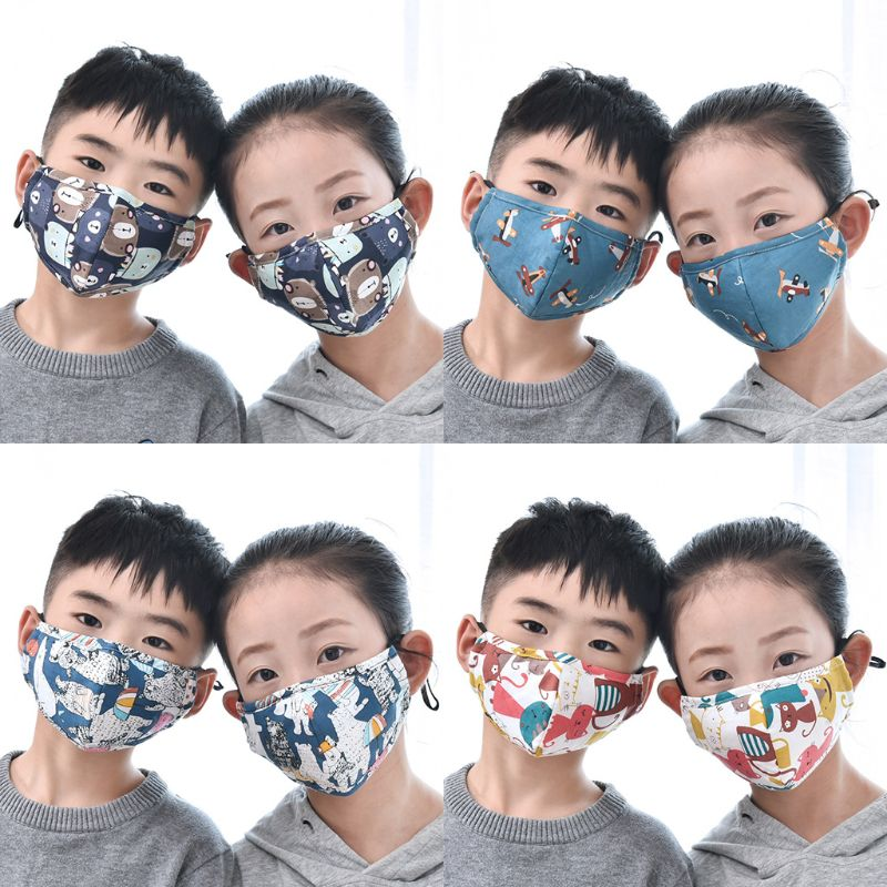 Cotton PM2.5 Children Mouth Face Mask Anti Dust Pollution Respirator Washable 95AB