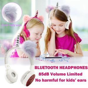 Image 2 - JINSERTA 2020 Unicorns Headphones Kids Headphone Wireless Bluetooth Stretchable Earphone Foldable Stereo Music Cartoon Headset