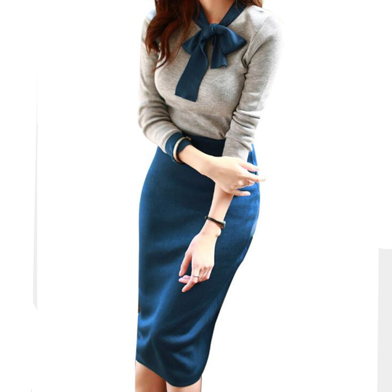 Office Lady Elegant Skirt Suit Two Pieces For Women Long Sleeve 2019 Spring Autumn OL Work Casual Midi Skirt And Top Set Outfit