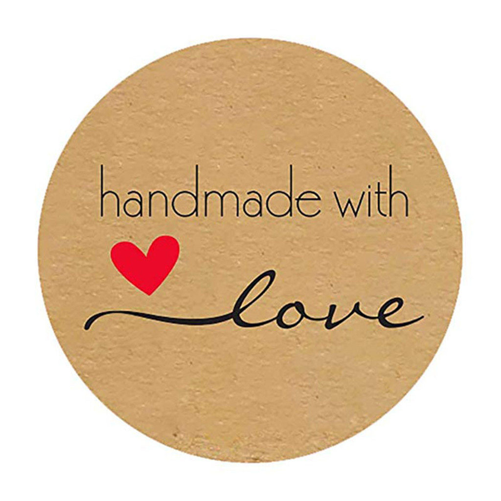 Baked With Love Stickers Paper Natural Kraft Gift Tags Baking Decoration Labels