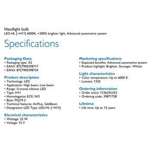 Image 5 - Philips X treme Ultinon LED H11 6000K Cool White +200% More Bright LED Car Headlight Genuine Refit Original Lamps 11362XUX2,2X