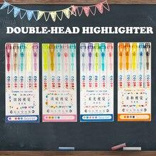 5 цвета двойной головкой маркер набор конфеты цвет маркер маркеры рук Дневник, ручка школьные принадлежности для студентов