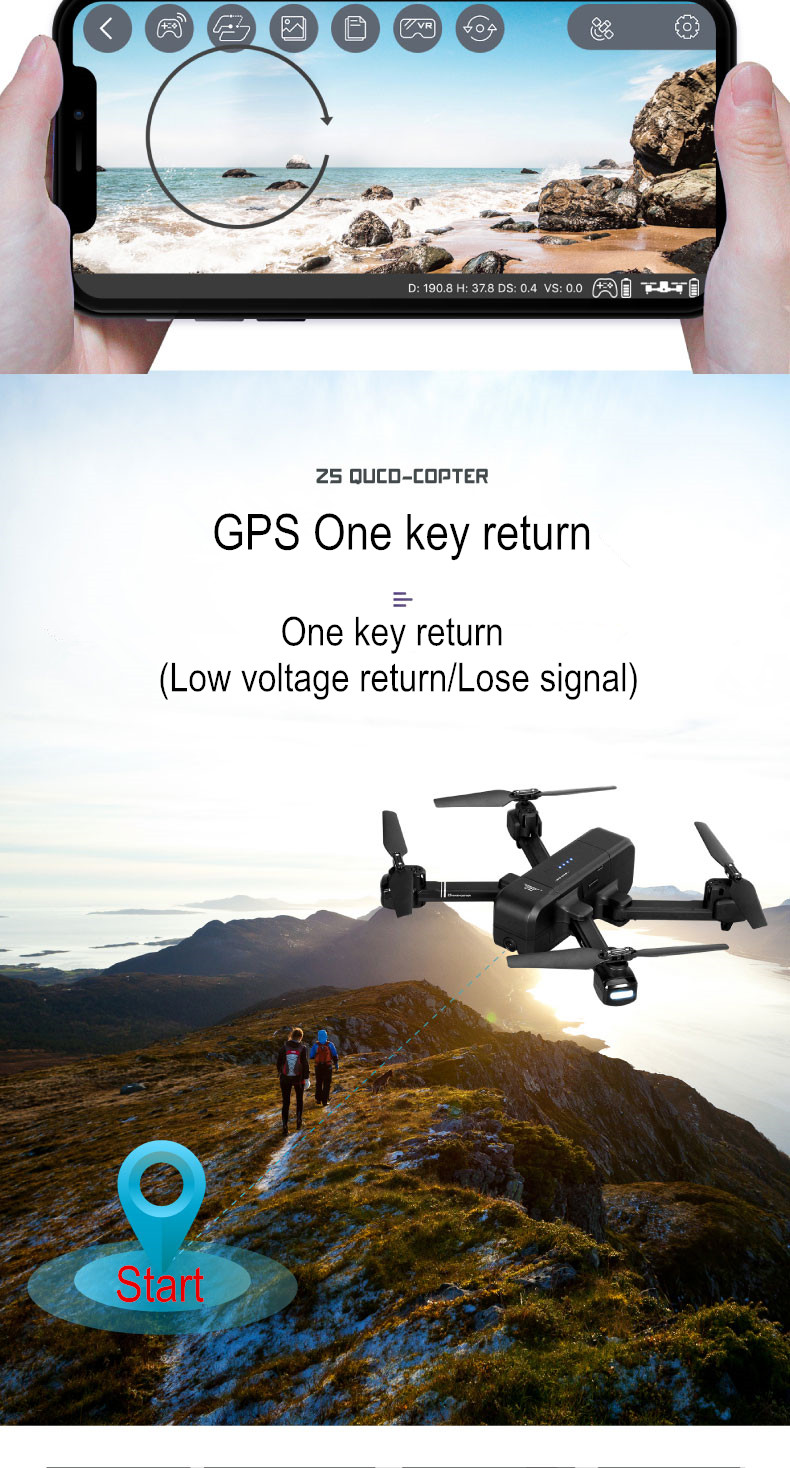 SJRC Z5 GPS RC Quadcopter Drone Helicopter With 2.4G 5G Wifi FPV 1080P Camera Altitude Hold Follow Me V f11 pro e58 19