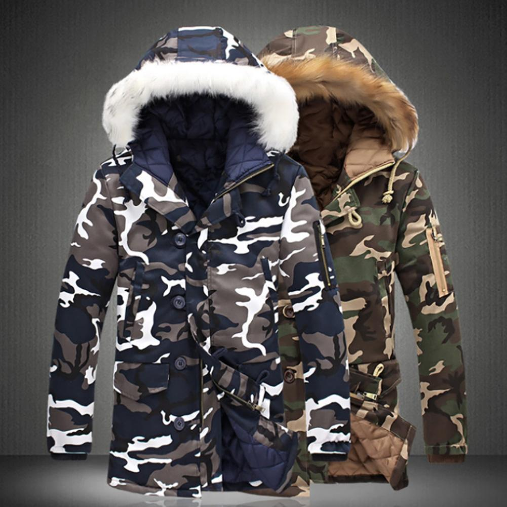 2020 Winter Men Camouflage Faux Fur Collar Long Sleeve Zip Cotton Coat Hooded Jacket Coats Hooded Overcoats Male Clothes