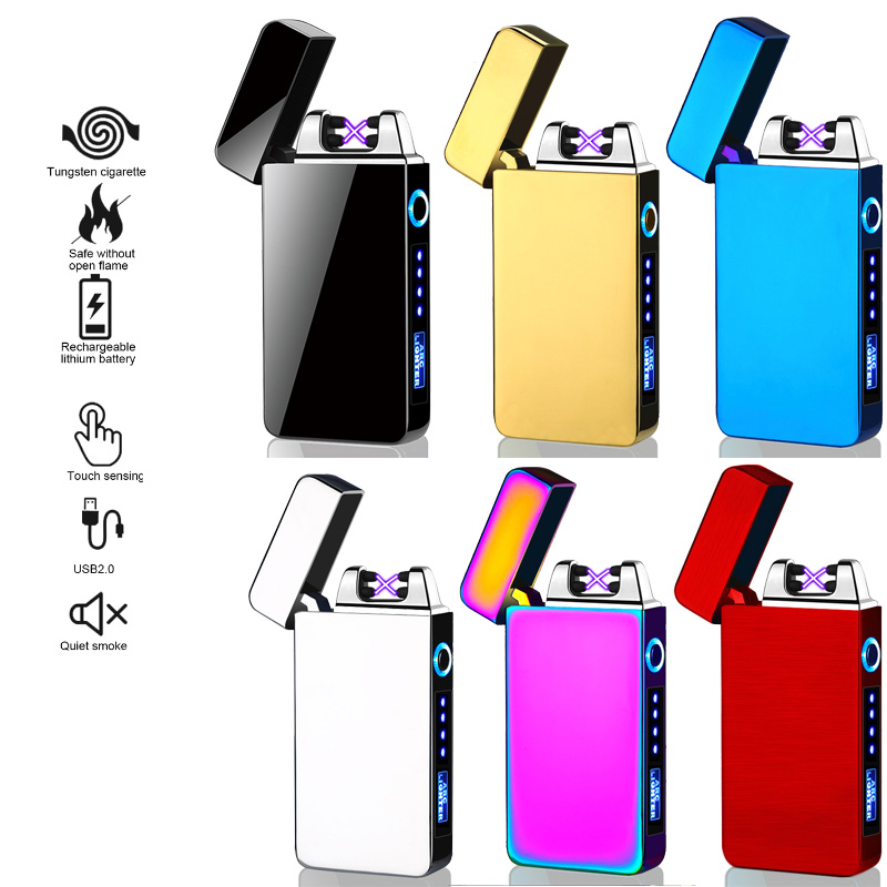 Lighters Tungsten Flameless Premium Lighter Cigarette Lighter Sensor Touch Screen Lighter Compact Smart Sensor USB Charging