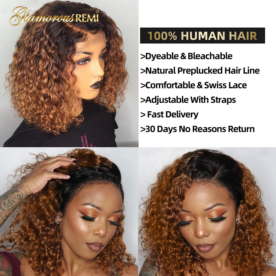 Ombre Curly Short Bob Wigs 1b/27  Curly Lace Front  Wigs With Baby Hair 4x4 Closure Wig  Density 150 5