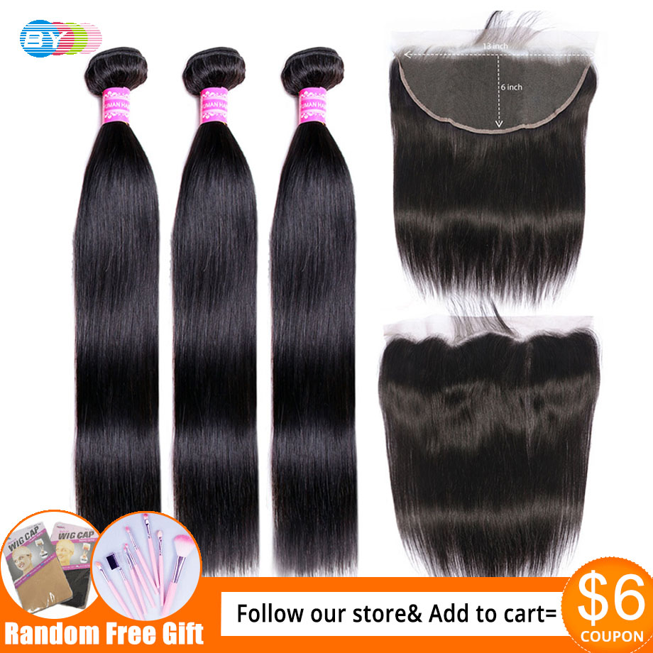 BY 13x6 Bundles With Frontal Straight Hair Bundles With Closure Peruvian Human Hair Bundles Remy Hair Extensiaon  Natural Colo-in 3/4 Bundles with Closure from Hair Extensions & Wigs