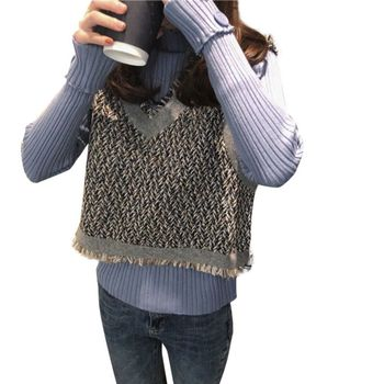 Autumn Winter Sweater Slim Sweet Sweater Stitching Color Pullover V-neck Loose Casual Sweater 8