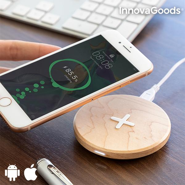 InnovaGoods Wireless Wooden Fast Charger Maple Tablet Chargers Computer & Office - title=