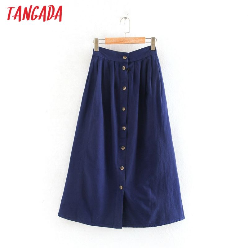 Tangada Women Pleated Denim Midi Skirt Buttons Pocket Vintage Summer Ladies Elegant Chic Mid Calf Skirts 2W200