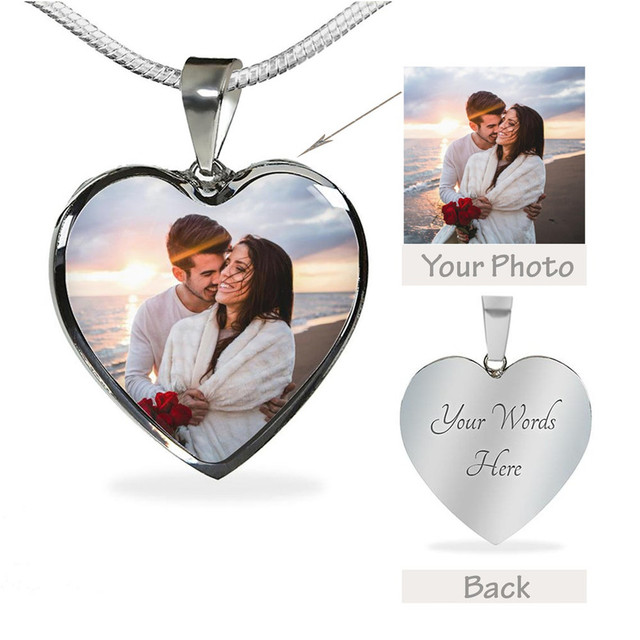 Personalized Epoxy Resin Photo Heart Necklace Custom Color Photo Engrave Name Stainless Steel Necklace Family Lover Jewelry Gift