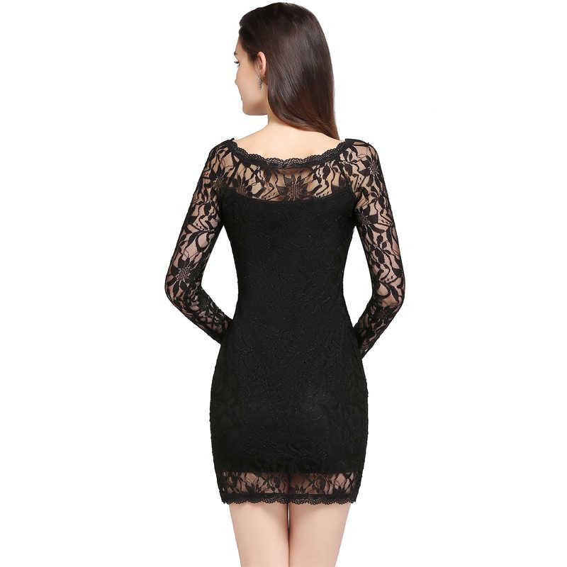 משלוח מהיר ארוך שרוול תחרה מיני שמלת נשים מפלגה קצרה שמלות גבירותיי Vestidos Coctel Robe דה קוקטייל CPS630