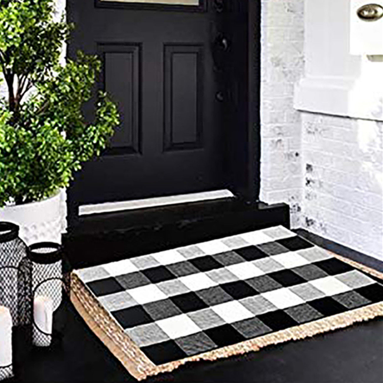 Cotton Buffalo Plaid Check Rug 27 5 X 43 Inches Washable Woven Outdoor Rugs For Layered Door Mats Porch Kitchen Farmhouse Black