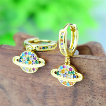 2020 Trend Full AAA Rainbow Zircon Saturn Earring Simple Ear Jewelry for Women Girls Gifts