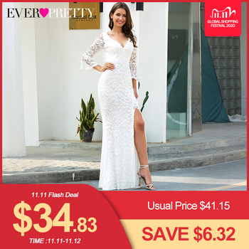Sexy Lace Wedding Dresses Ever Pretty EP00617CR 3/4 Sleeve Side Split Deep V-Neck Zipper Mermaid Bride Gowns Robe De Mariee 2020