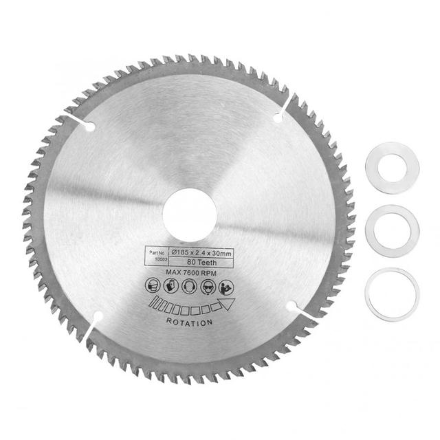 185mm Silver TCT Circular for Wood Cutting 80 Teeth + 3Pcs Reduction Rings Tool