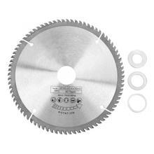TCT Циркулярный инструмент для резки древесины, 185 мм, серебро, 80 зубьев + 3 кольца для уменьшения