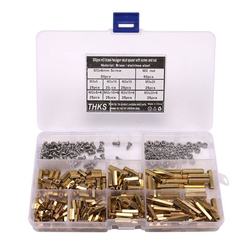 300Pcs M3 Copper Male Female Hex Standoff Pillar Board Mount PCB Hexagon Motherboard Spacer Bolt Screw Nut Set Assortment Kit