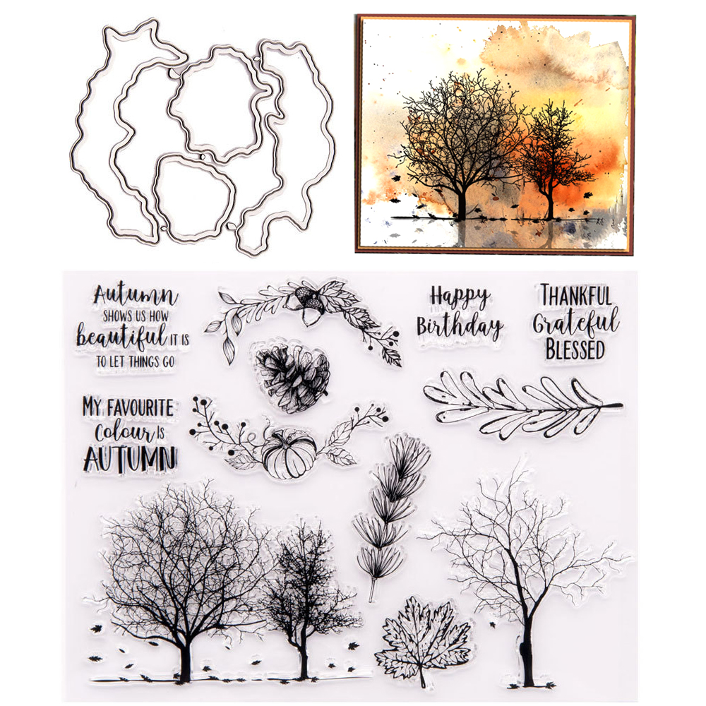 2020 New Clear Stamps with Metal Cutting DIes Antumn Tree Stamp and Die set for DIY Scrapbooking Paper Card Making