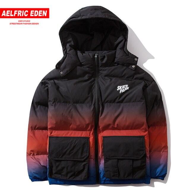 Aelfric Eden Hip Hop Gradient Removable Mens Hooded Parkas Casual Warm Padded Jacket Coats 2019 Harajuku Windbreaker Streetwear