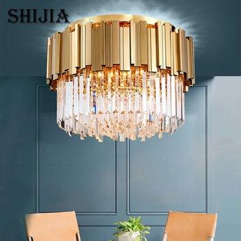 יוקרה מודרני עגול LED קריסטל מנורת חדר שינה סלון מלון ריהוט גופי תאורה