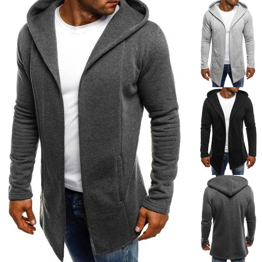 Men Splicing Hooded Solid Color   Trench   Coat Jacket Cardigan Long Sleeve Pockets Outwear Top M0905