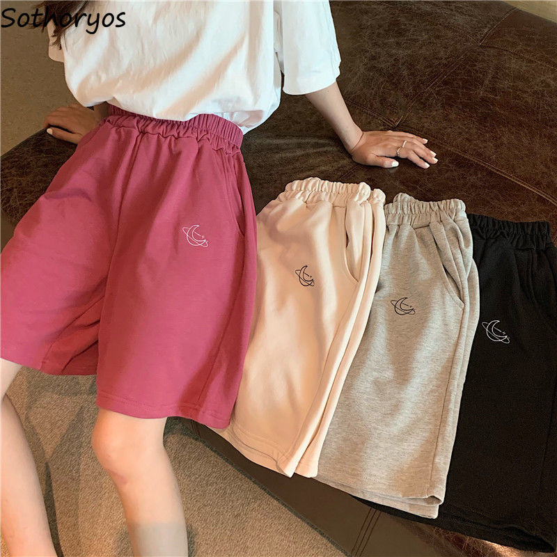 Shorts Women Solid Embroidery Oversize Loose Fashion Ins Korean Style Leisure Elastic Waist Chic Simple Students All-match Daily