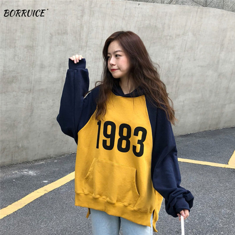 2019Letter Graphic Pattern Hoodie Autumn Women Pocket Cotton For Hoodies Hip Hop Sweatshirt Mens Long Sleeve Hoodies  Sportswear