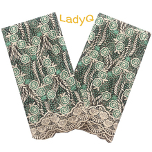 Aso Ebi  African Embroidery Lace Fabric Glitter Milk Silk Indian Bridal Materials 5 Yard Green 2020