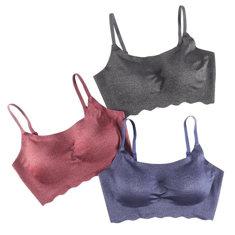 Elifashion Keep Cool Underwear Push Up Gather Beauty Back Seamless Sports Bra Wire Free Gorge Comfortable Nylon Dark Color Bra