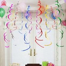 6 pçs feliz aniversário estrela espiral pingente de teto pendurado guirlanda redemoinho banner para festa de aniversário casa sala estar decoração