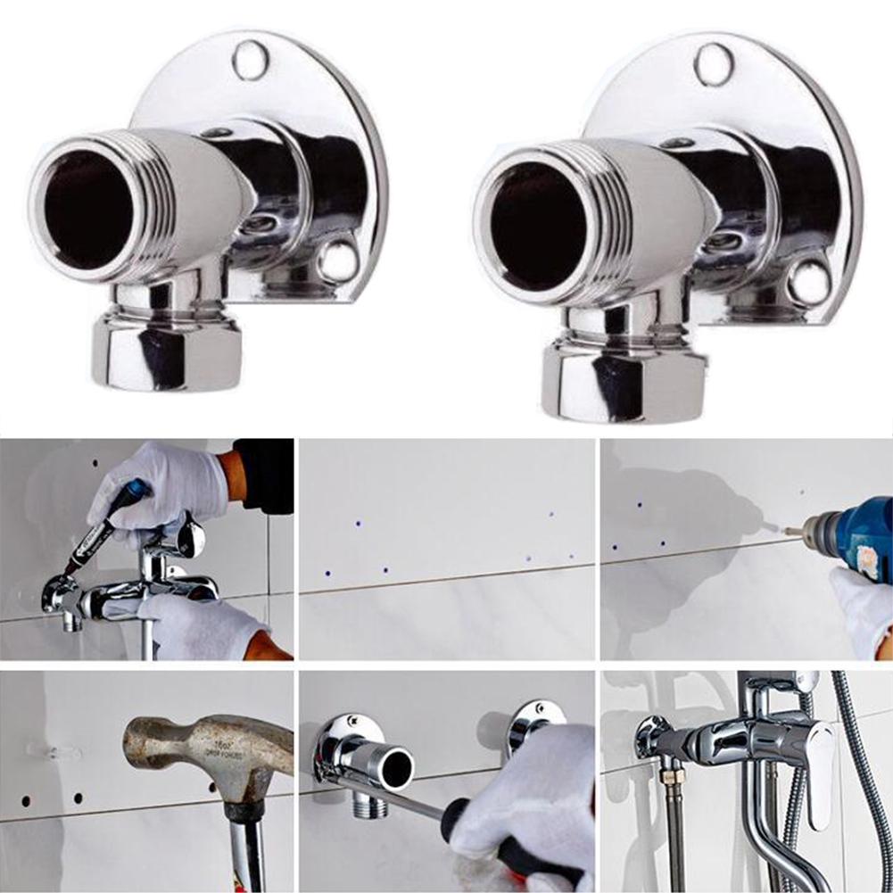 2pcs Accessories Copper Durable Exposed Pipes Shower  Wall Mount Home Diverter Bathroom Supplies Connector Elbows Practical