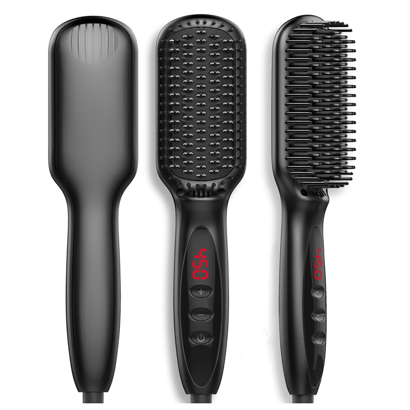 new Professional One Step Hair Dryer brush 2 in 1 straightener and curler Hot comb Curling iron beard straightener