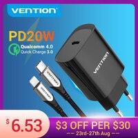 Vention pd 20ワットusb充電器急速充電4.0 3.0 usbタイプc急速充電器iphone 12 x xs 8 xiaomi電話QC4.0 QC3.0 pd充電器